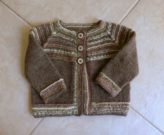Hand knitted brown baby cardigan, fit approx. to 6 months. Wool blend.