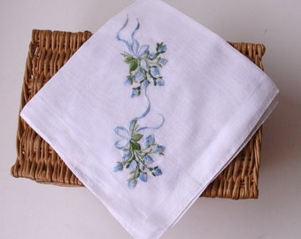 Vintage Embroidered Linen Handkerchief Hankie Blue Flowers White