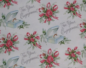 Vintage Rust Craft Bridal SHOWER Gift Wrap Wrapping Paper - For Your ENGAGEMENT - 1950s