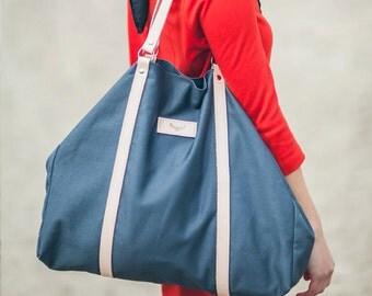 Gray, cotton tote handbag CAMEL / natural leather handles and strap