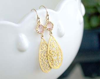 Gold Teardrop Earrings with Blush Stones - Filigree Teardrop - Gold Filled Earwire - Bridesmaid, Bridal Blush Bridesmaid Earrings