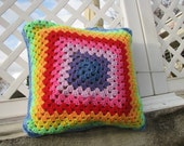Rainbow afghan  crochet granny square pillow cover