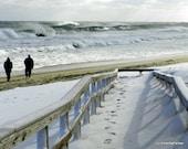 Windy Winter Stroll... A Cape Cod Nauset Beach Orleans High Surf Photo 8'' x 10'''