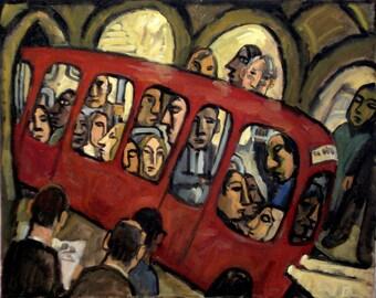 Red Night Metro, Paris. Original Oil Painting on Canvas, 16x20 Industrial Urban Subway Painting, Modern Fine Art, Signed Original