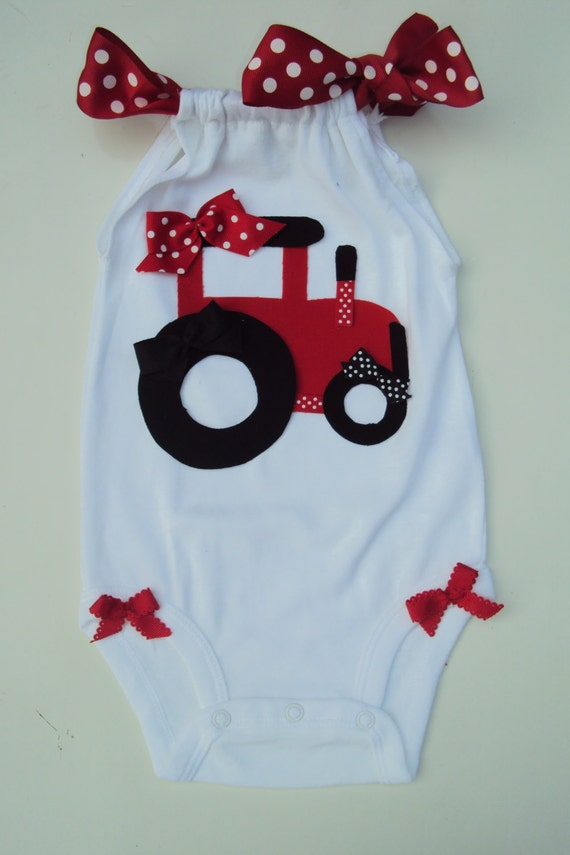 Baby Girls Big Red Tractor Romper So Cute For By Daintyboteek
