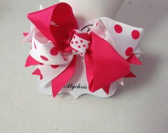 Hot Pink & White Polka Dot Ribbon Bow Hair Clip