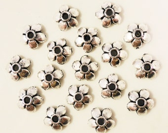 Silver Bead Caps 6mm Antique Silver Tone Metal Flower Beadcap End Cap Jewelry Findings Fits 6mm Beads 75pcs