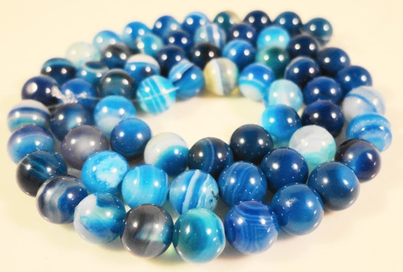 """15"""" Strand Blue Agate Gemstone Beads 6mm Round Striped Agate Beads, Dyed Blue Stone Beads on a Full 15 Inch Strand with 62 Beads"""