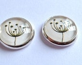 flower earrings silver stud post botanical free shipping seed pod free shipping