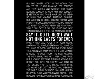 One Tree Hill Quote Printable / Inspirational Quote / Nothing Lasts Forever / Graduation / Black // 8x10