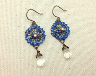 Hand Enameled Gear Earrings with Vintaj Brass Filigree Pieces and Quartz Drops