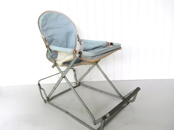 Vintage Blue Doll Bouncy Seat Child Toy Baby Doll