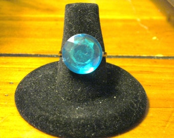 Turquoise Blue Round Acrylic Faceted Adjustable Ring
