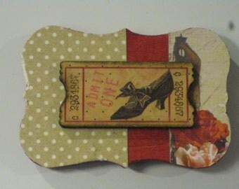 Vintage High Heel Wooden Ticket on Dressmaker's Dummy Background Wood Magnet
