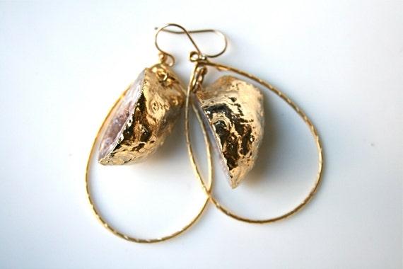 Half Mini Geode Druzy Earrings Edged in Gold