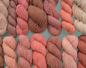 Naturally Dyed Wool Yarn: pinks, blues, ambers, browns, greys