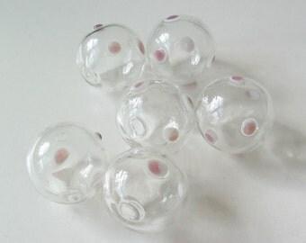 SALE 8 Hollow Hand Blown Glass Polka Dot Beads 20mm
