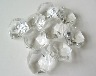 Vintage plastic crystals with 2 drill holes 4pcs