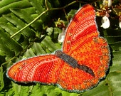 Butterfly Beadwork Brooch, Red, Pink, Orange