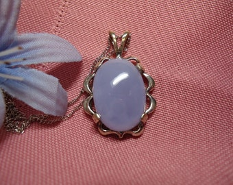 Oval Cabochon Chalcedony Necklace in Sterling Silver  #637