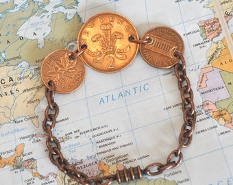 3 Copper World Vintage Coins Bracelet, Canada Penny, UK New Two Penny, USA Penny, Retro Coin Bracelet