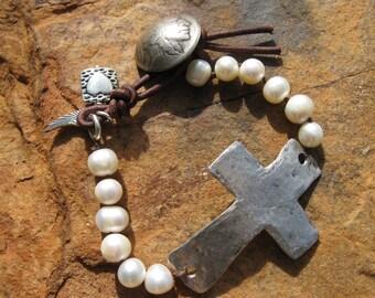 Pearl and Cross Bracelet, Rustic knots - Pearls - Hammered Metal sideways cross, leather loop closure bracelet