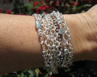 Boho - Shimmering Silver, Wrap Bracelet and Necklace