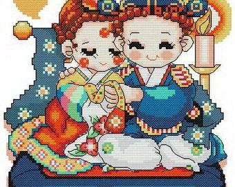 PDF file counted aida cross stitch korean baby pattern for wedding KK120