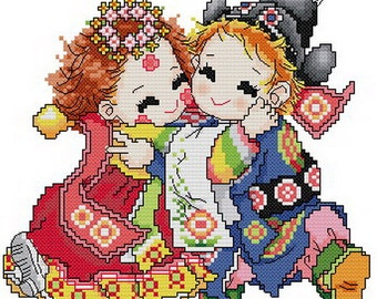 PDF file counted aida cross stitch korean baby pattern for wedding KK123