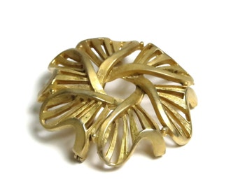 Gold Tone Signed Charel Vintage Brooch Pin