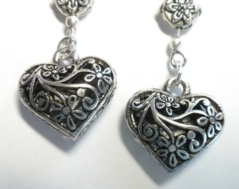 Silver Heart Earrings with Flowers