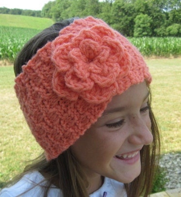 PATTERN Flower Headband Earwarmer (Knit and Crochet Pattern