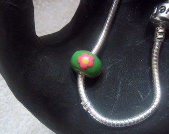 Pink Daisies Large Hole Euro Bead Charm Lime Green and Neon Pink