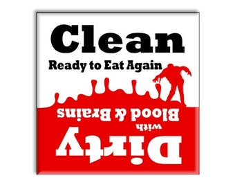 "Clean Dirty Dishwasher Magnet Zombie Apocalypse 2.5"" x 2.5"" inches, red and black"