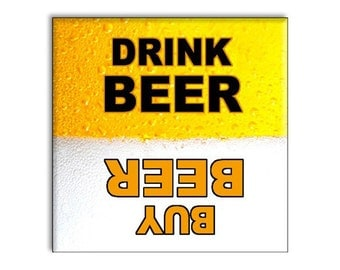 "Funny Beer Refrigerator Magnet 2.5"" x 2.5"" Yellow and Black"