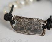 Hey Jealousy - Rustic Tree Bracelet - Oxidized Sterling Silver Tree Bracelet with Freshwater Pearls/Leather/Artisan Silver