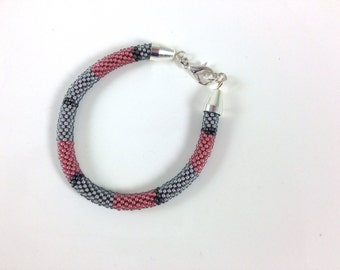 Rose Pink, Grey & Matte Metallic Silver Grey Crochet Bracelet