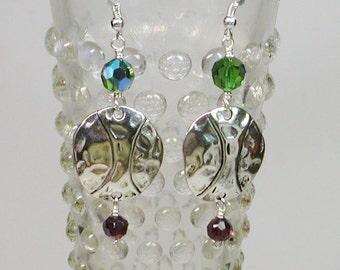 Silver Free Form Coin Earrings, Dangle Earrings, Crystal Earrings, Green Crystal Earrings, Amethyst Earrings
