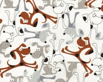 """Timeless Treasures """"Cats & Dogs Collection"""" Cartoon Dogs on White 1 Yard Cut"""