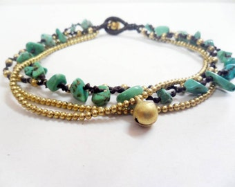 Chip Turquoise  Brass Chain Anklet