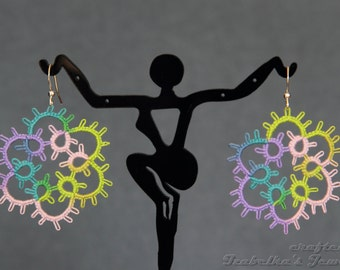 Multicolor tatted snowflake earrings - Your color choice
