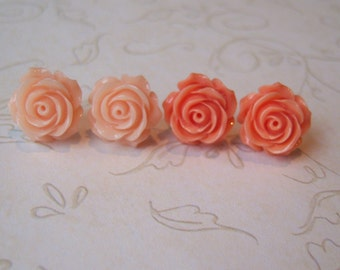 Light Peach and Coral Rose Earrings