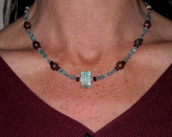 Apatite Opal and Garnet Necklace with Sterling Silver and Opal Focal Bead