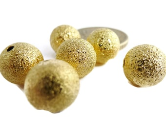 12 Pieces of 10mm Golden Plated Round Stardust Metal Bead