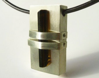 """Sterling Silver and Green Tourmaline Pendant, """"Less is More"""""""
