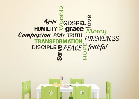 Youth Room Church Religious Christian Word Collage Subway Art