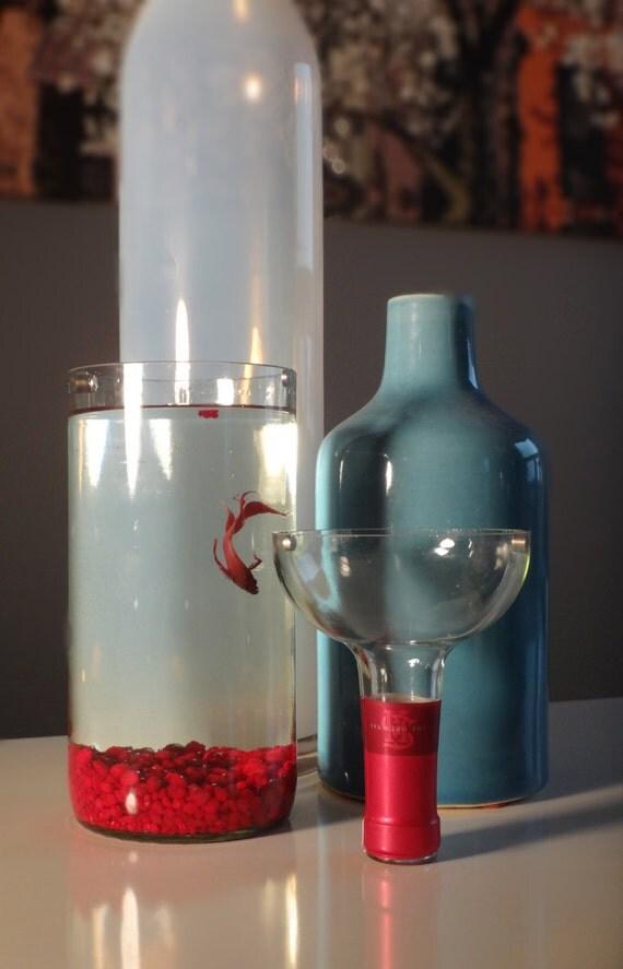 Glass wine bottle betta fish tank aquarium kit complete kit for Bottled water for betta fish