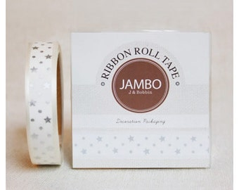 Adhesive Flora silver Ivory ribbon roll deco tape by J&Bobbin
