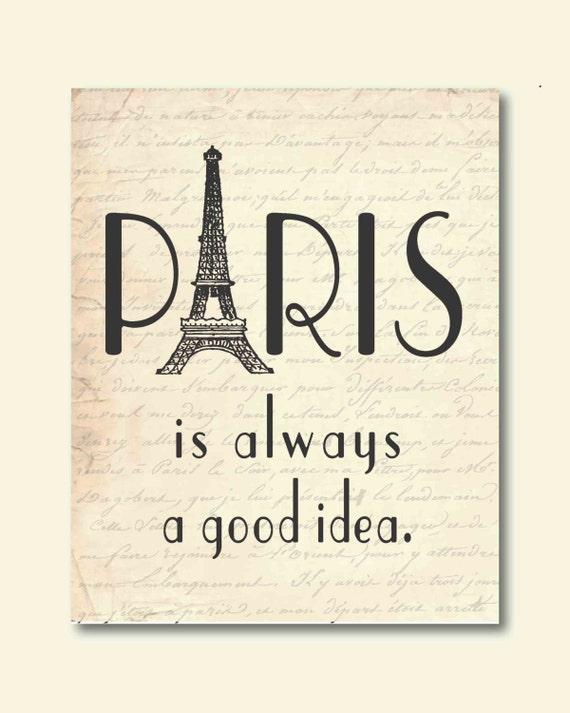 Items similar to Wall Art - Paris is always a good idea - Audrey Hepburn Quot...