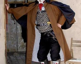 Mens Victorian Inverness Coat Lined Steampunk Jaket LARP